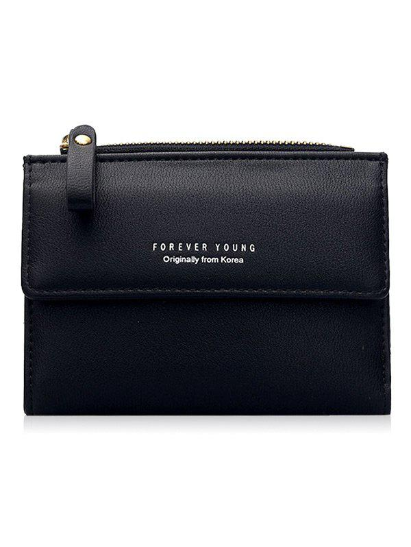 PU Leather Zipper Mini Purse - BLACK