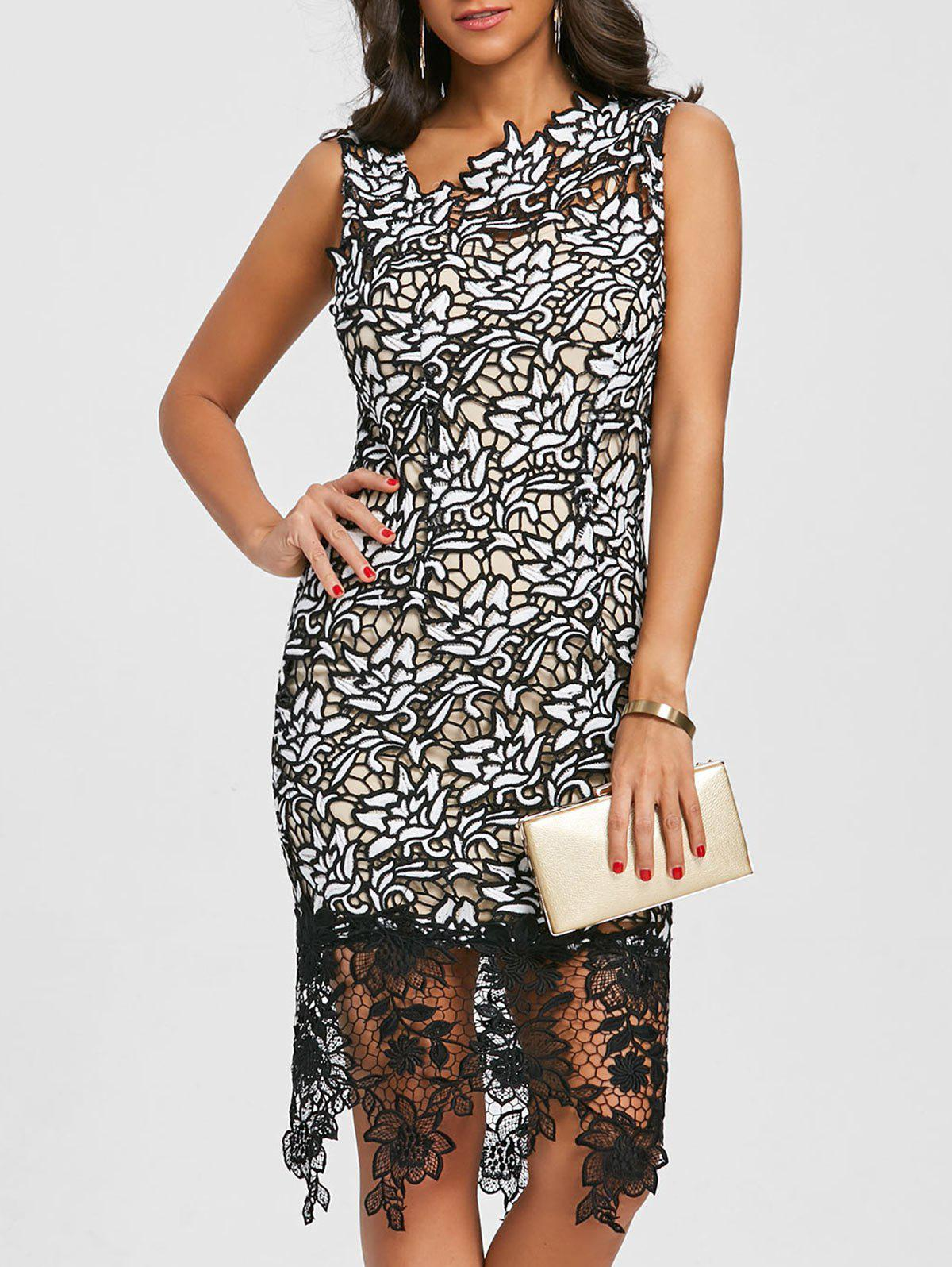 Lace Skew Neck Party Dress - BLACK M