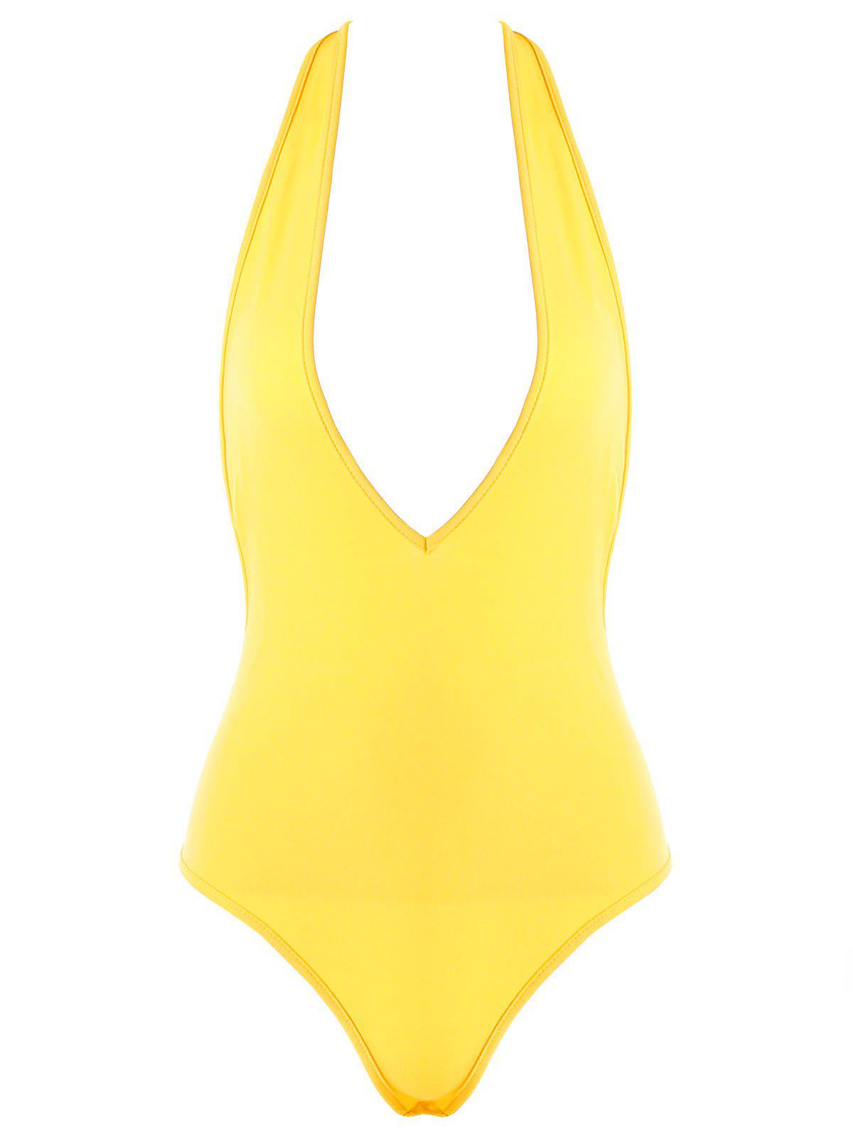 Metallic Chain Embellished Lingerie Plunge Bodysuit - YELLOW M