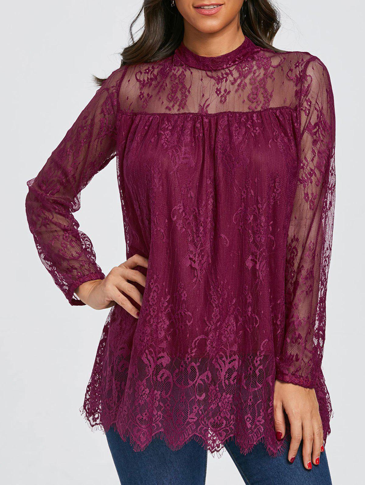 Mock Neck See Thru Lace Blouse - PURPLISH RED 2XL