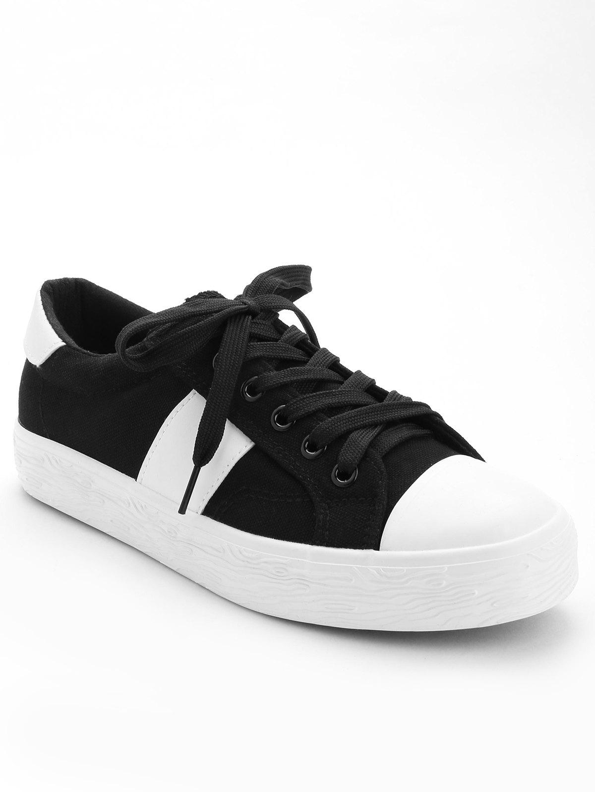 Casual Color Blocking Skate Shoes - BLACK 37
