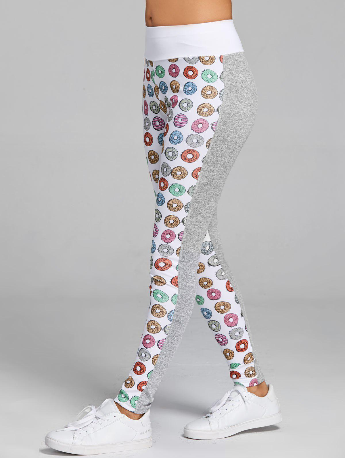 Doughnut Pattern Workout Leggings - GRAY S