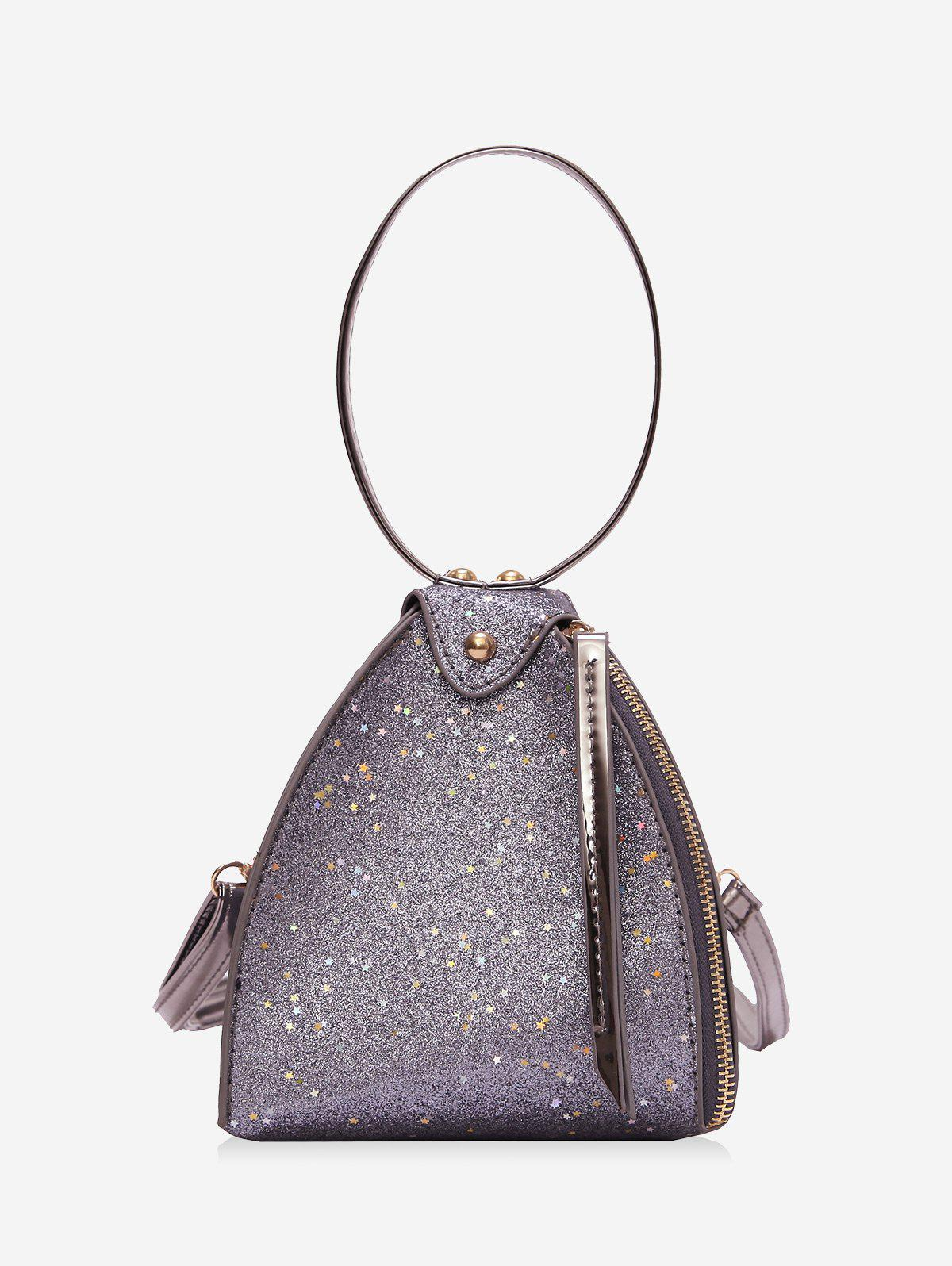 Triangle Sequined Handbag - SILVER