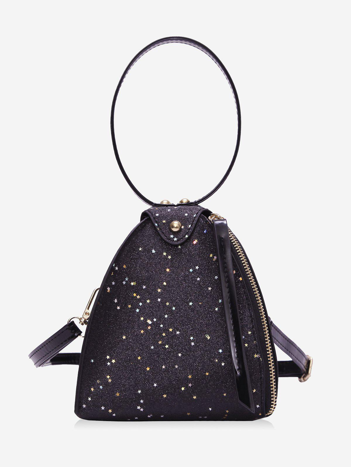Triangle Sequined Handbag - BLACK
