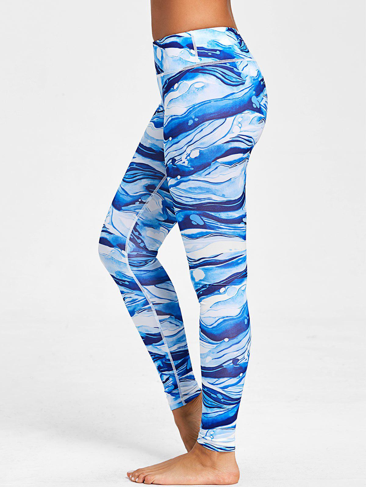 Ocean Waves Printed Elastic Waisted Workout Leggings - COLORMIX L