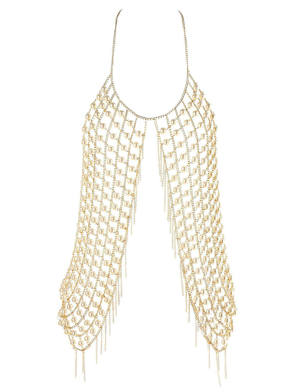 Tassel Metal Chain Faux Pearl Tank Top - LIGHT GOLD ONE SIZE