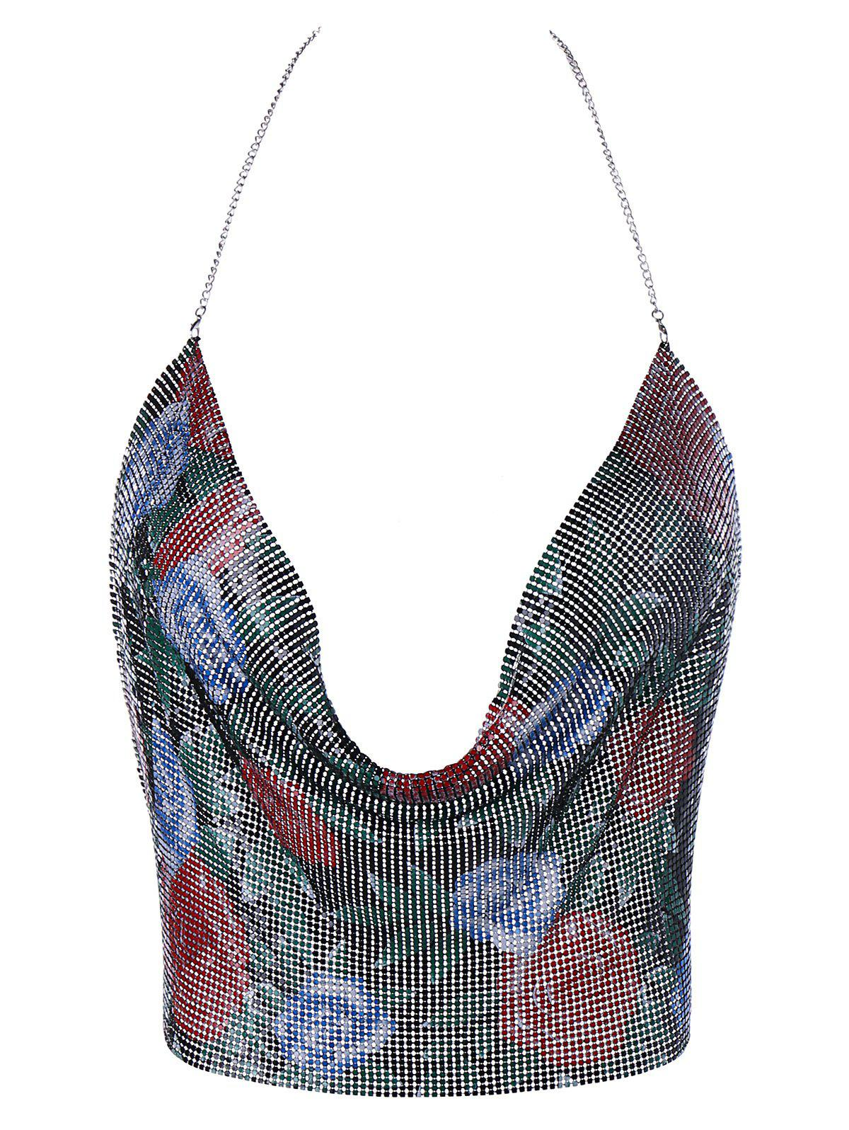Floral Metallic Chain Crop Cami Top - COLORMIX ONE SIZE