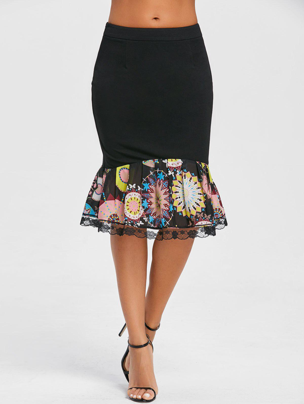Print Trimmed Bodycon Mermaid Skirt - BLACK M