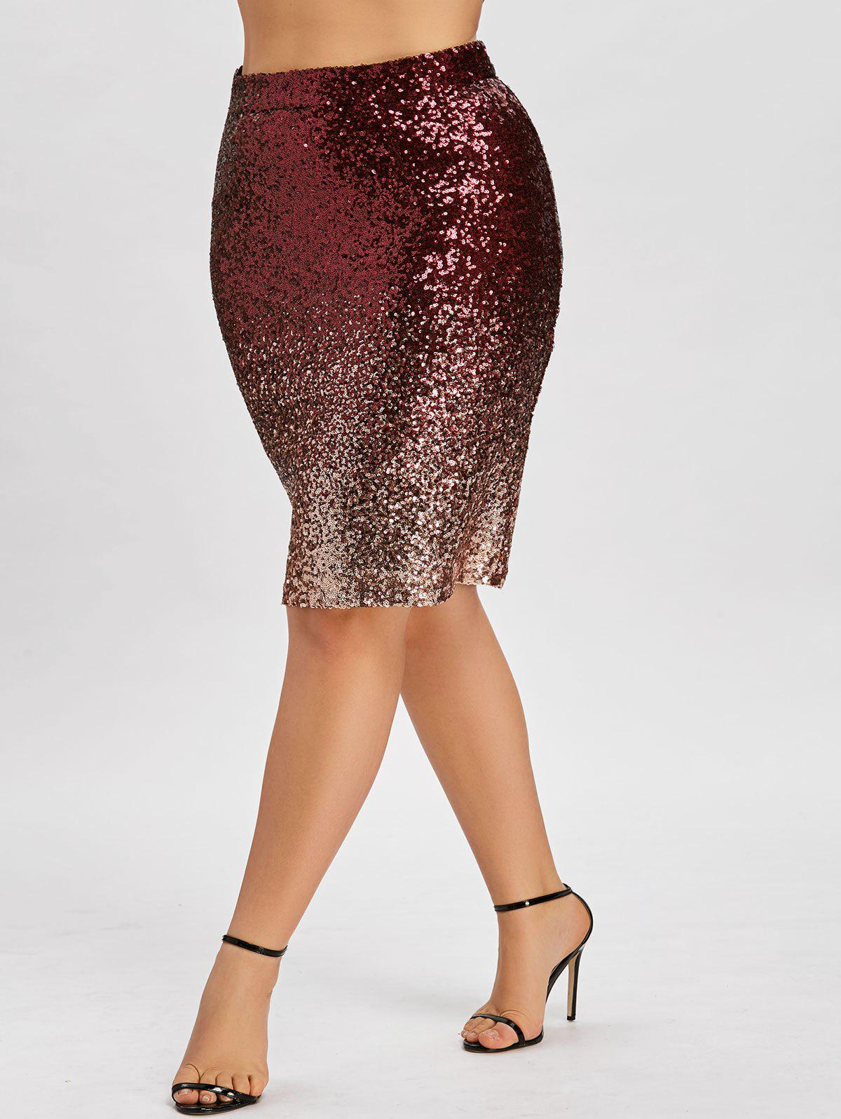 Plus Size Sequin Ombre Color Bodycon Skirt - COLORMIX 3XL