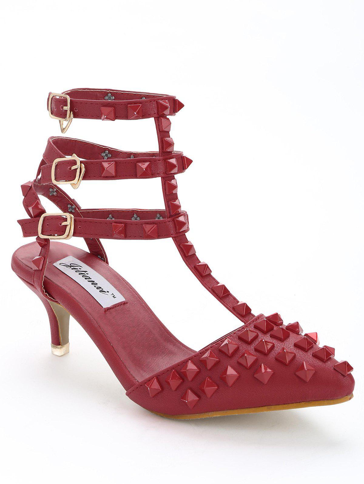 Studded Ankle Strap Stiletto Heel Sandals - RED 37