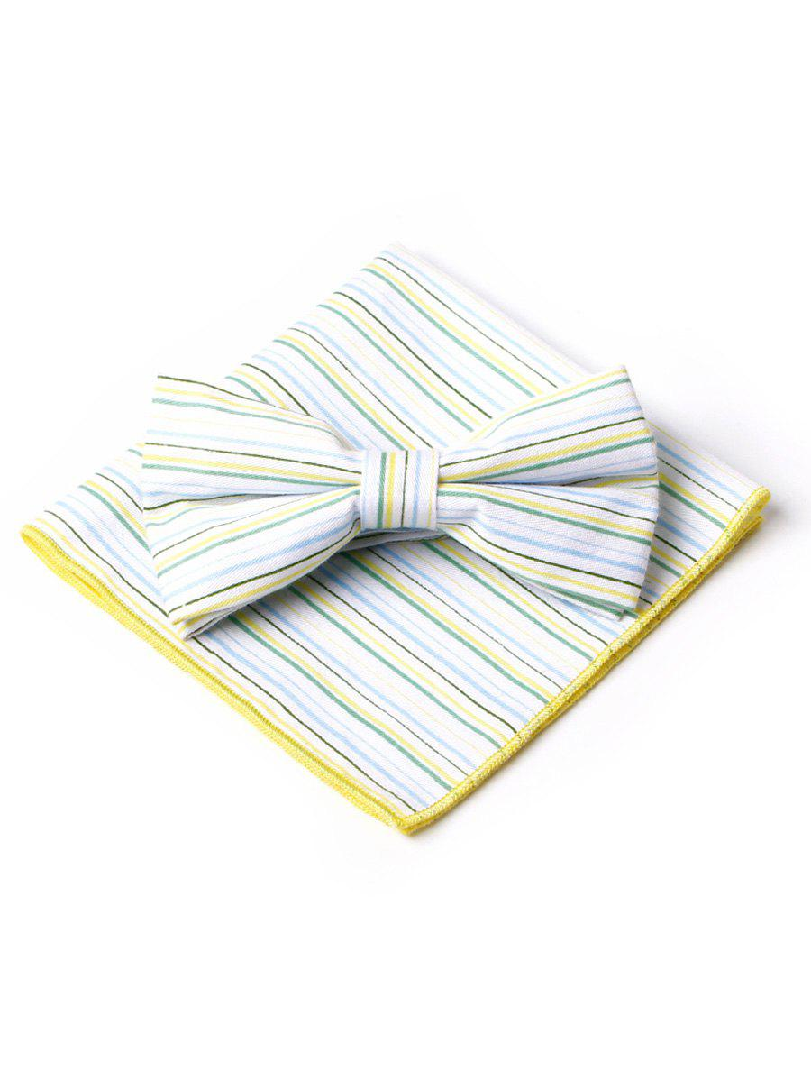Striped Pattern Bow Tie Squared Handkerchief  Set - YELLOW