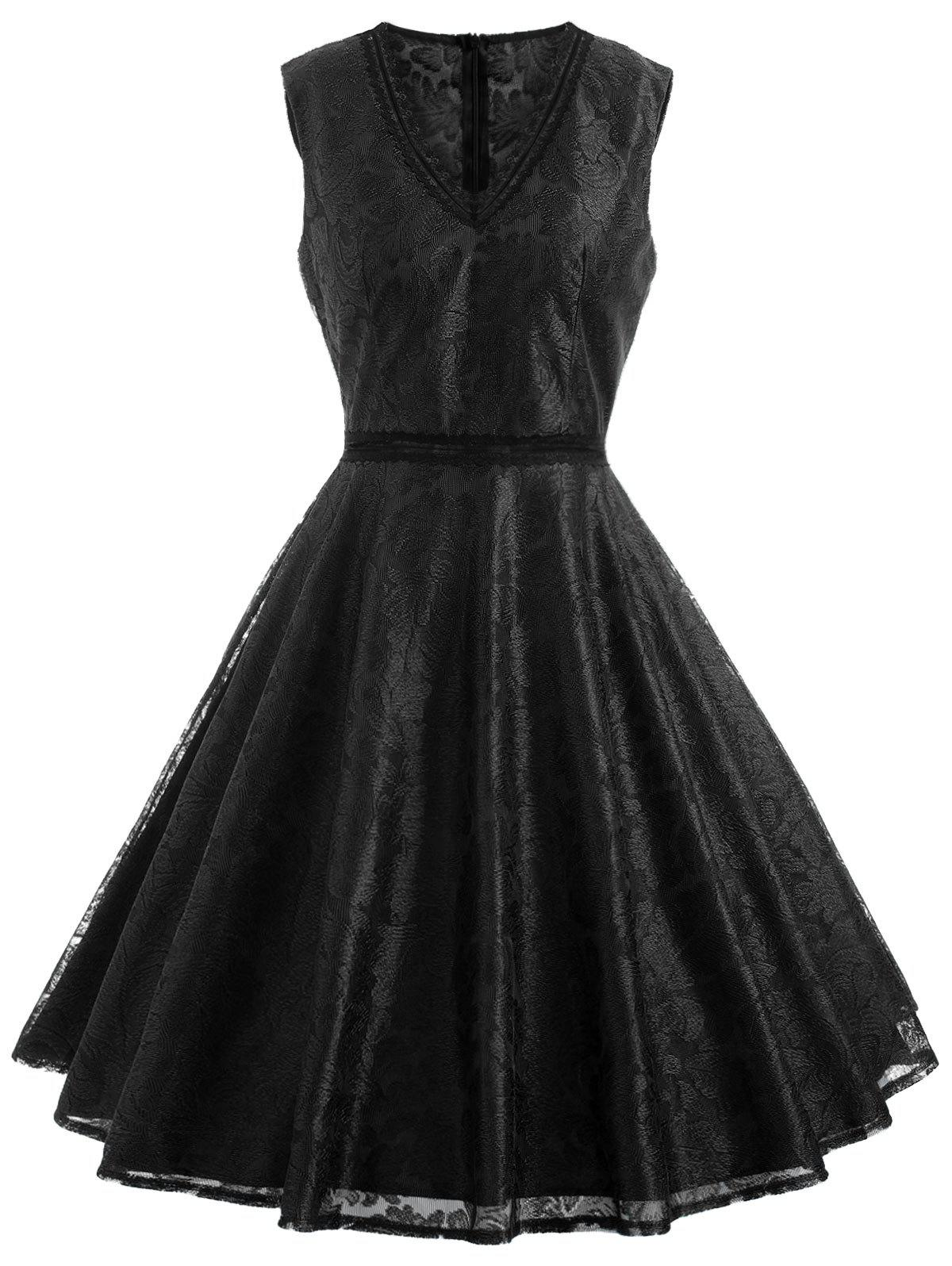 Sleeveless Leaf Lace Dress - BLACK XL