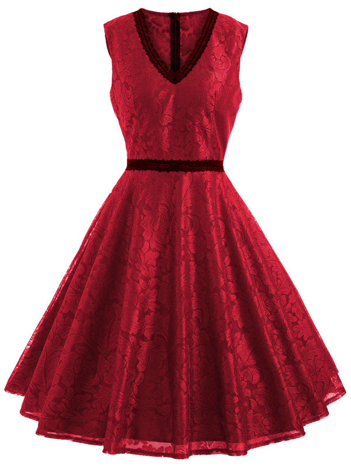 Sleeveless Leaf Lace Dress - RED L