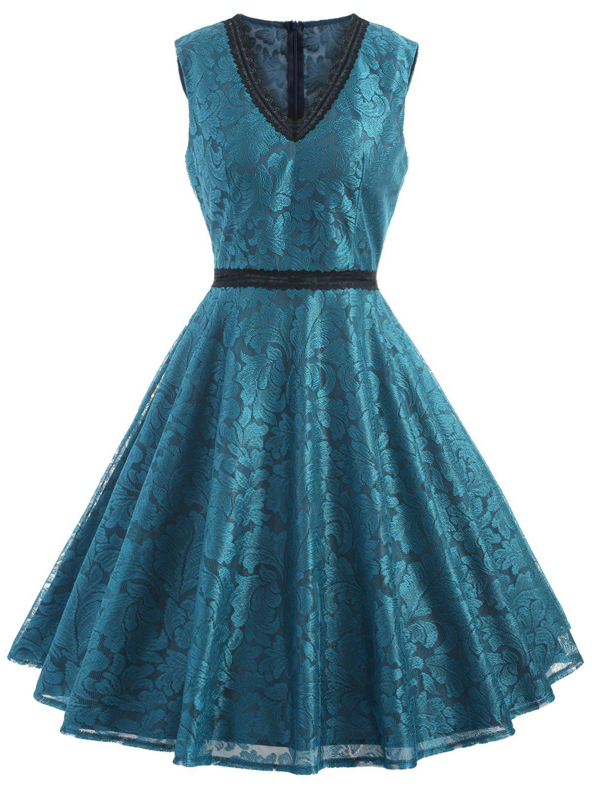 Sleeveless Leaf Lace Dress - PEACOCK BLUE 2XL