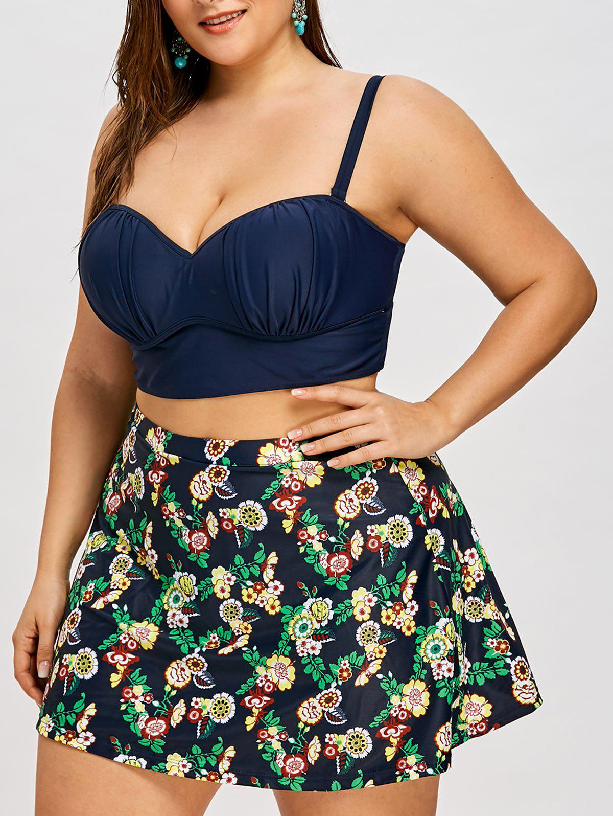 Skirted Plus Size Push Up Floral Bikini - CERULEAN 2XL