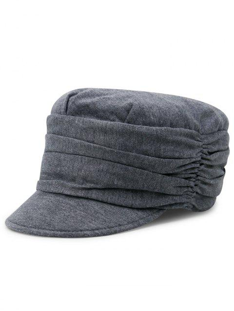 Simple Solid Color Fold Pattern Sun Hat - GRAY