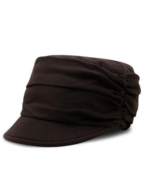 Simple Solid Color Fold Pattern Sun Hat - CAPPUCCINO