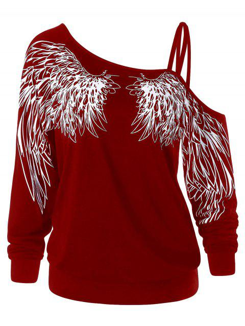 Wing Print One Shoulder Long Sleeve Top - WINE RED 2XL