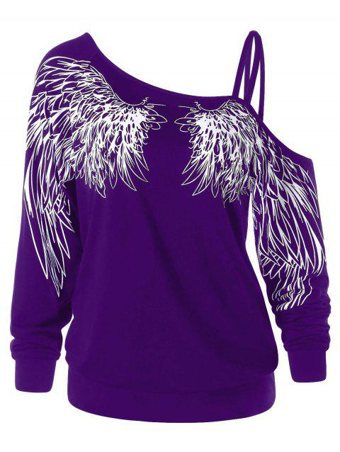 Wing Print One Shoulder Long Sleeve Top - PURPLE M