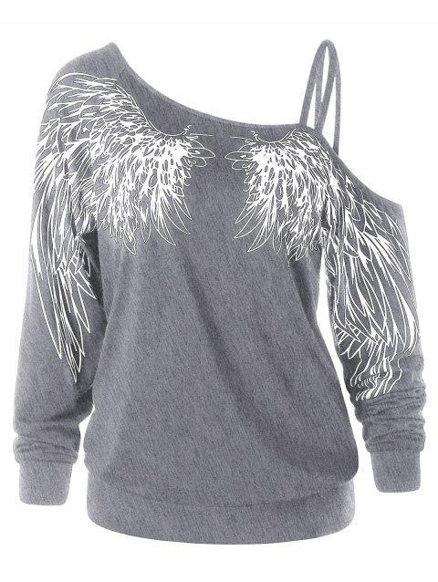 Wing Print One Shoulder Long Sleeve Top - GRAY XL