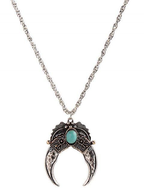 Turquoise Decorated Crescent Moon Pendant Necklace - SILVER