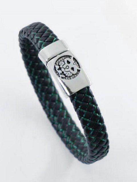 Artificial Leather Rope Engraved Tiger Braid Bracelet - BLACK/GREEN