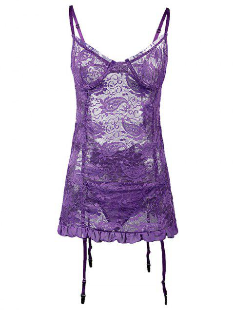 Plus Size Plunge Push Up Chemise with Garters - PURPLE 3XL