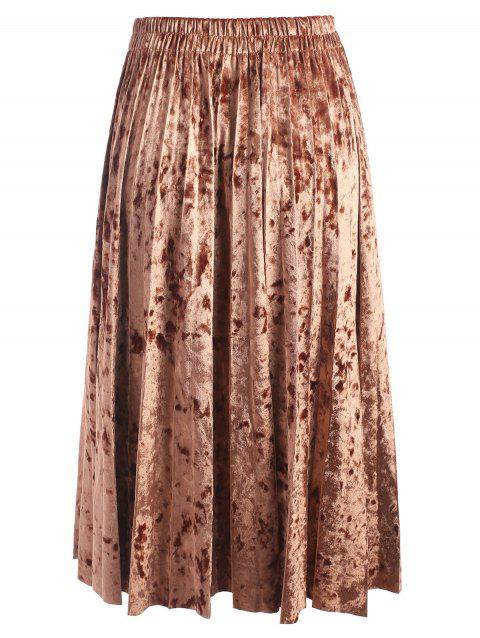 Elastic Waisted Plus Size Velvet Skirt - BROWN 6XL