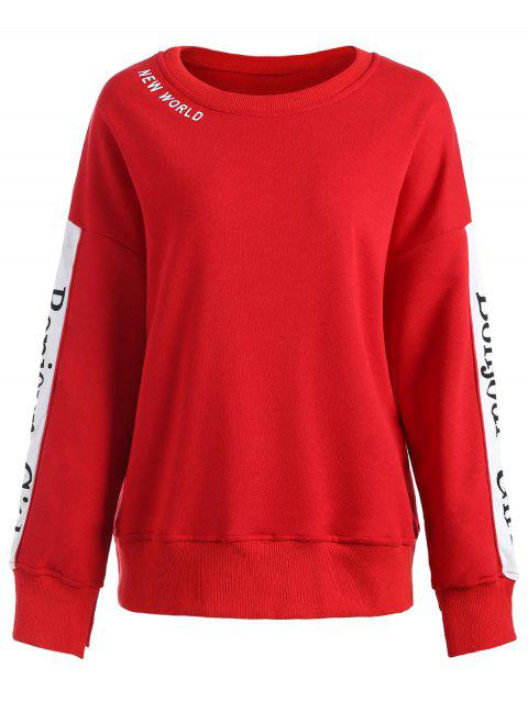 Long Sleeve Plus Size Letter Print Sweatshirt - RED XL
