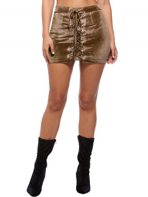 Criss Cross Mini Velvet Bodycon Skirt - COFFEE M
