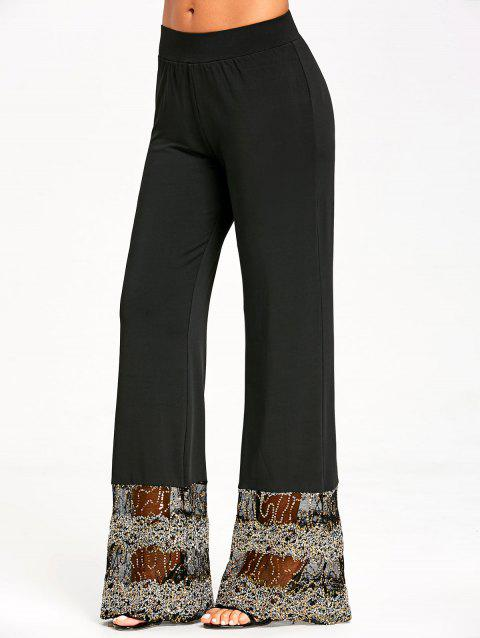 Sequins Lace Panel Trim Straight Pants - BLACK M