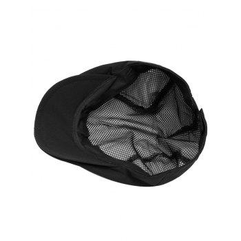 Striped Pattern Breathable Mesh Cabbie Hat - BLACK