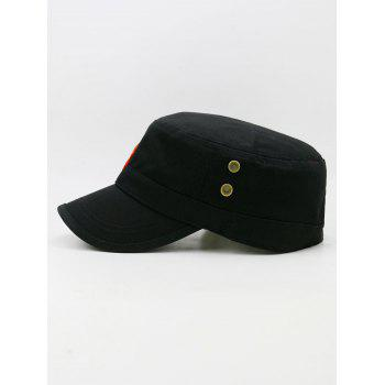 Star Embroidery Adjustable Military Hat - BLACK