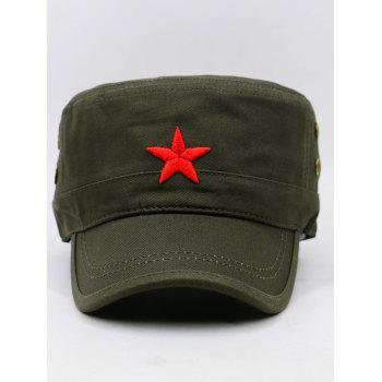 Star Embroidery Adjustable Military Hat - ARMY GREEN