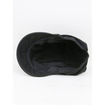 Simple Solid Color Fold Pattern Sun Hat - BLACK