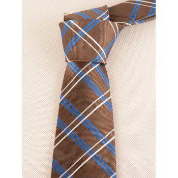 Checked Pattern Silky Formal Bueiness Tie - LIGHT COFFEE