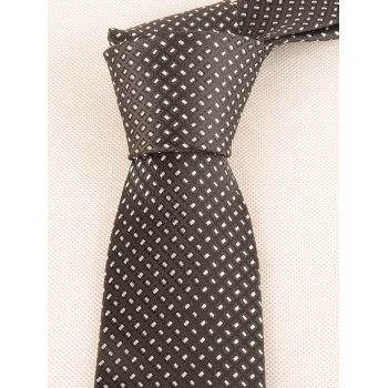 Checked Pattern Silky Formal Bueiness Tie - BLACK