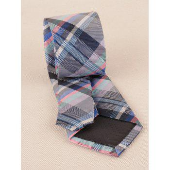 Checked Pattern Silky Formal Bueiness Tie - CADETBLUE