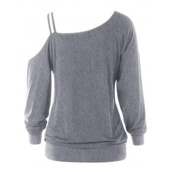 Wing Print One Shoulder Long Sleeve Top - GRAY M