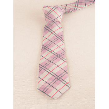 Checked Pattern Silky Formal Bueiness Tie - PAPAYA