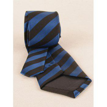 7.5CM Width Striped Pattern Silky Formal Business Tie - BLUE