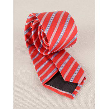 7.5CM Width Striped Pattern Silky Formal Business Tie - RED