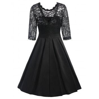 Lace Trim Vintage Skater Dress - BLACK L