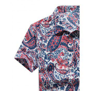 Casual Paisley Print Short Sleeve Shirt - RED XL