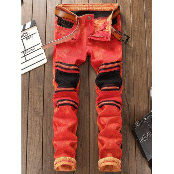 Panel Pleat Straight Leg Biker Jeans - RED 38