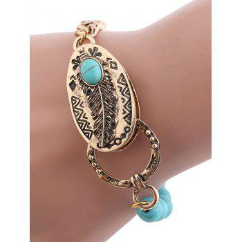 Retro Faux Turquoise Chain Beaded Linked Bracelet - GOLDEN