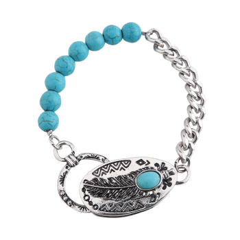 Retro Faux Turquoise Chain Beaded Linked Bracelet - SILVER
