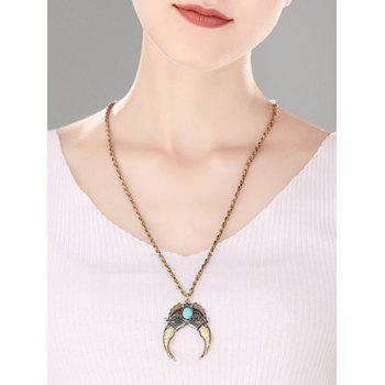Turquoise Decorated Crescent Moon Pendant Necklace - GOLDEN