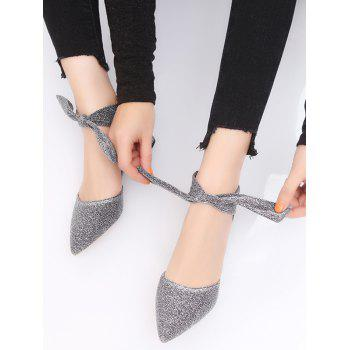 Pointed Toe Glitter Sandals - SILVER 35