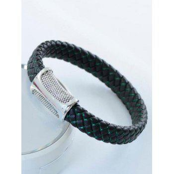 Simple Artificial Leather Rope Braid Bracelet - BLACK/GREEN